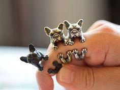 Ring mit Französischer Bulldogge, Verstellbarer Silberring für Hundeliebhaber / ring with frensh bulldog in silver made by Istanblue via DaWanda.com