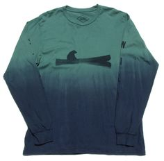 """""""Up a Creek Dip-Dye"""" A bear in a canoe. Graphic strategically placed to """"float"""" on the dip dyed navy lower half. Graphics are printed on both sleeves reading """"STAY"""" on the right sleeve and """"WILD"""" on the left sleeve."""