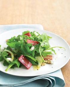 Martha's Rhubarb Salad with Goat Cheese: honey-roasted rhubarb slices, toasted walnuts, arugula, fennel and goat cheese