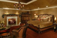 Old world bedroom with fireplace