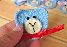 Ganchillo apliques, Crochet osos azules, Set de 10 piezas, peluches de ganchillo, Adorno, decoraciones, motivos de Crochet, fotos Prop
