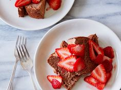 Chocolate Angel Food Cake with Strawberries recipe from Trisha Yearwood via Food Network