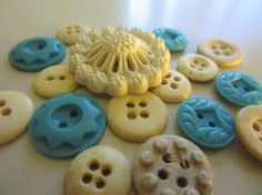 Vintage Buttons  Country chic sweet blue and by pillowtalkswf, $7.25
