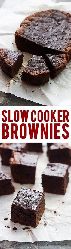 Ultra fudgy Slow Cooker Brownies | Creme de la Crumb