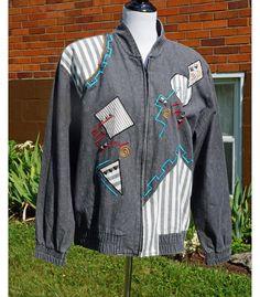 80s Jean Jacket Geometric Details, Grey Denim, 80's shoulder pads, Embroidered Bomber, stripes, City Girl. 100% cotton.