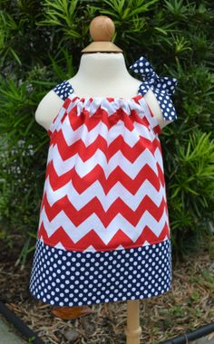 Patriotic Red Chevron Pillowcase Dress - Fourth of July Pillowcase Dress - July 4th Outfit - Memorial Day Outfit - Zig Zag Dress on Etsy, $19.99