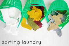 Ha, ha, a kids' laundry sorting game made out of felt pieces to sort by shapes & colors. That's right, prepare them for the real thing!  Great for a life skills classroom.  Read more at:  http://wildolive.blogspot.com/2012/01/make-laundry-sorting-game.html
