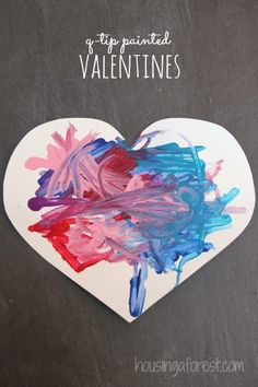 Fine motor Valentine& Day art for toddlers. Love this with cotton swab. Could do heart/egg . Toddler Valentine Crafts, Valentine Theme, Holiday Crafts For Kids, Valentines Day Activities, Holiday Activities, Valentine Day Crafts, Baby Crafts, February Toddler Crafts, Toddler Activities