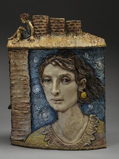 """""""Up on the Roof """" by Merry Arttoones...now at Obsidian Gallery in Tucson, Arizona...its a combination vase and incense burner...LOL  arttoones.com #vase #clay #ceramic"""