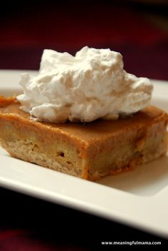Yummy Pumpkin Bars - Same pumpkin pie flavors, but tastier. Meaningful Mama.