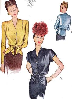 1940s Misses Evening Blouse With Peplum - this slim peplum would look good with my 6-gore skirt