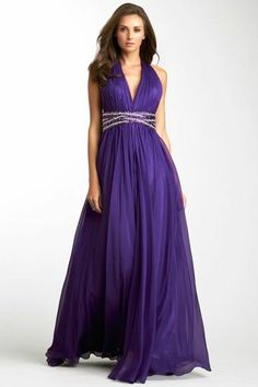 La Femme Pleated Goddess Gown