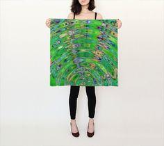 The Ripple Effect II, Fresh Green - Silk Scarf, Small Square, 26x26
