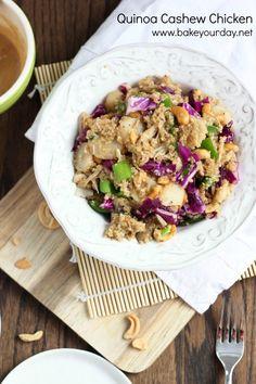 Quinoa Cashew Chicken with Sesame Peanut Drizzle | bakeyourday.net