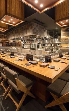 Restaurant Floor Plan, Japanese Restaurant Design, Yakitori, Ramen Shop, Brookfield Place, Sushi Restaurants, Sushi Design, Bucharest, Cafe Interior
