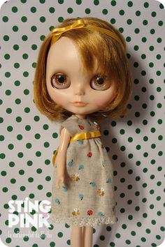Blythe Doll Dress plums bees and ladybugs Japanese by StingPink, $14.00