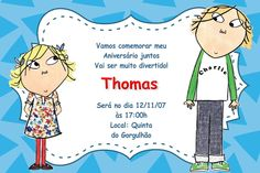 Convite digital personalizado Charlie e Lola 001 Charlie E Lola, Family Guy, Party, Fictional Characters, Party Things, Digital Invitations, Fiestas, Hilarious, Parties
