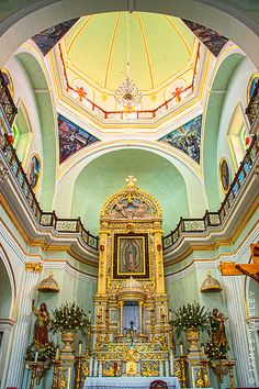 ***** Our Lady of Guadalupe Church, Puerto Vallarta, Jalisco, Mexico Oh The Places You'll Go, Places To Travel, Places To Visit, Puerto Vallarta, Riviera Maya, Two Worlds, Altar, Destinations, Cathedral Church