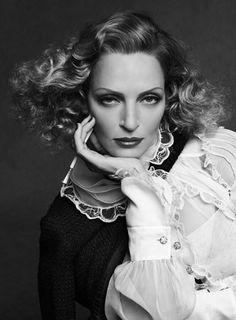 Uma Thurman by K. Lagerfeld and C. Roitfeld - Comme un air de Marlene Dietrich :).
