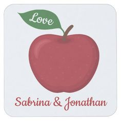 Red Burgundy Apple Love Wedding Party Square Paper Coaster - burgundy style stylish cyo diy customize