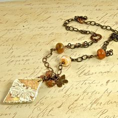 Peaches and Apricot Creme Mixed Media Butterfly by enlalumiere, $48.00