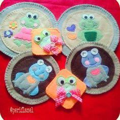 Felt Mat and Coaster. Handmade. Frog.