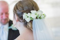 Updo for wedding hairstyle - twisted updo with white rose {Mychelle LeVan Photography LLC}
