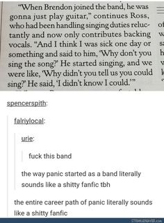 Panic really is just a shitty fanfic<<<< Even their stage gay is ...