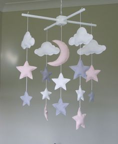 Star Moon and Cloud Baby Mobile in Pale Pastel by ClooneyCrafts