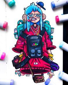 ▷ - Gawx Art - So I was drawing a random girl but I colored the hair b Cute Doodle Art, Doodle Art Designs, Doodle Art Drawing, Dark Art Drawings, Cute Art, Graffiti Art, Graffiti Doodles, Graffiti Drawing, Dope Cartoon Art