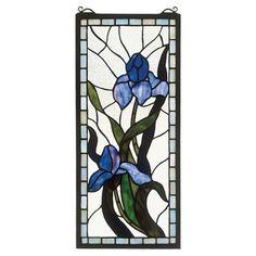 Meyda Tiffany Tiffany Floral Nouveau Iris Stained Glass Window   Wayfair