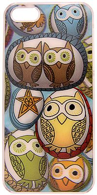 "Happy Hoot Owls 3D iPhone Case at The Animal Rescue Site. $16.95 Birds of a feather flock together on the back of your iPhone, enclosed within our hard case. The wide-eyed owls shimmer amid the stars in 3D effect on our cover suitable for either iPhone 4, 4S, or 5.  Acrylic. 3D effect. 4.5"" x 2.5"" (11.4 x 6.4 cm); fits iPhone 4 & iPhone 4S. 5"" x 2.5"" (12.7 x 6.4 cm); fits iPhone 5."