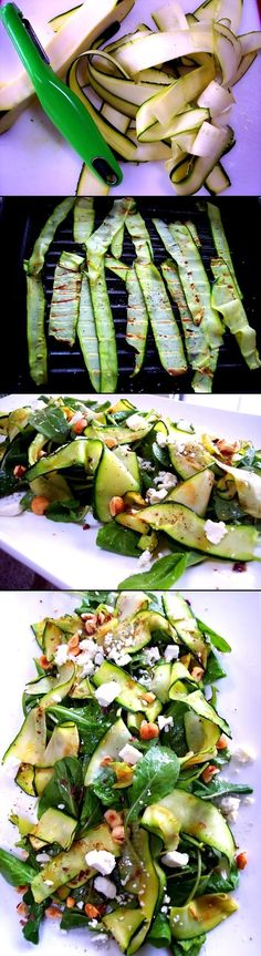 Zucchini Ribbon Salad Grilled zucchini salad it is a ideal recipe, quick and tasty for summer hot days. I really liked this recipe from the first time when I tried it. Whether it is an ordinary day, or want to add extra flavor to a traditional barbecue, I propose you to not forget to put on the grill the zucchini. Good appetite!!!