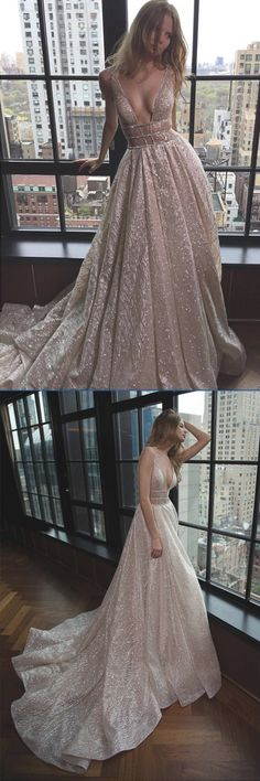 Rose Gold Sequin Long Prom Dresses,Evening Prom Gown With Plunging V-Neck, M156 #Rosegold #Sequin #Longpromdress #Vneck