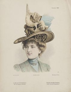 Millinery Print From France c. 1890s Fashion, Edwardian Fashion, Vintage Fashion, Modern Fashion, Women's Fashion, Victorian Hats, Victorian Women, Decorative Hair Combs, Large Feathers