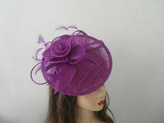 Elegant Medium Sinamay Purple Ladies Fascinator Hat.