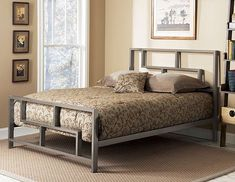 Complete your bedroom collection with this Bronx king-size bed Fashionable bed is made of sturdy and durable metal with a luxurious finish Elegant bed design is sure to enhance any bedroom decor Platform Bed Designs, Metal Platform Bed, Furniture Sale, Bedroom Furniture, Bedroom Decor, Cama Industrial, Cama Vintage, Full Size Bedroom Sets, Cheap Mattress