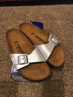 43f77a713223ba Birkenstock Madrid Women s Sandal Silver EU 40 US 9 NIB NARROW Fit. B81   fashion