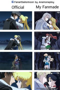 The comparison between Official and my fanmade. Your fanmade is better than official Sailor Moon Crystal, Cristal Sailor Moon, Sailor Moon Stars, Sailor Moon Fan Art, Sailor Moon Manga, Sailor Moom, Sailor Jupiter, Sailor Venus, Princesas Disney Zombie