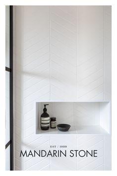 Chevron Bathroom, Chevron Tile, White Herringbone Tile, White Bathroom Tiles, Bathroom Design Inspiration, Bathroom Interior Design, Interior Ideas, Design Ideas, Bathroom Renos