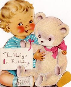 vintage 1st birthday card ~ teddy bear and boy  Too Cute!  A collection of these?