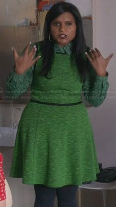 Mindy's green printed shirt and dress on The Mindy Project.  Outfit Details: http://wornontv.net/30390/ #TheMindyProject