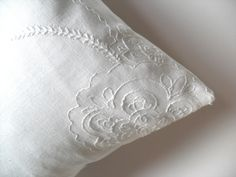 White linen pillow pretty embroidered cushion by PrintingPretty, via Etsy. Linen Pillows, Bed Pillows, Embroidered Cushions, True Love, Pillow Cases, Textiles, Happy Life, Linens, Pretty