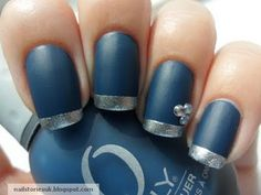 Matte Navy Nails with Silver Tips and Rhinestones