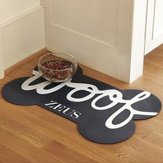 """""""Woof"""" Dog Bowl Mat - Ballard Designs"""