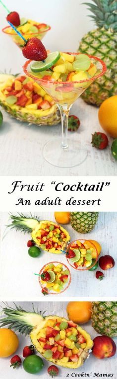 Fruit Cocktail Dessert | 2 Cookin Mamas The perfect adult after-dinner dessert! Light, full of fresh fruits & a touch of rum for that tropical touch. #recipe #dessert #cocktail