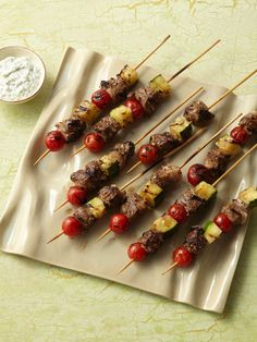 grilled lamb kebabs with tomatoes zucchini and yogurt sauce - Ina Garten Lamb Recipes