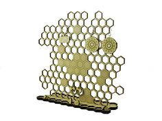 Honeycomb jewelry holder - wood organizer - engraved - lasercut - jewelry stand - wooden sculpture