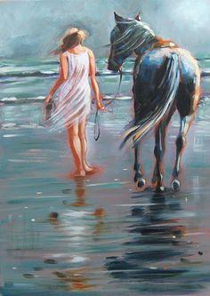 Beautiful painting of girl walking horse on beach. Painting Of Girl, Painting & Drawing, Masculine Art, Prophetic Art, Digital Art Girl, Am Meer, Equine Art, Horse Art, Summer Art
