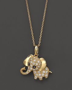 "Diamond Elephant Pendant Necklace in 14K Yellow Gold, .20 ct. t.w., 16.5"" - Necklaces - Shop by Style - Fine Jewelry - Bloomingdale's"